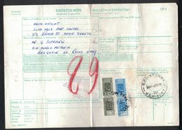 IN166    Australia 1979 Sidney Insured Despatch Note To Italy With Italian Stamps Parcels - Storia Postale