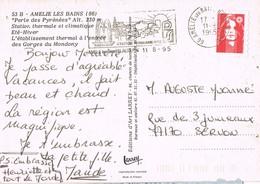 32813. Postal AMELIE Les BAINS - PALALDA /pirinées Orientales) 1995. Station Thermal, Balneario. Flamme - Francia