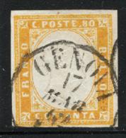 Sardegna 1855 Sass.17Da O/Used VF/F - Sardinia