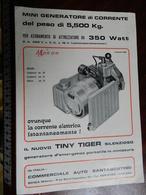 12.2) GENERATORE DI CORRENTE TINY TIGER 1968 BROCHURE PUBBLICITARIA DEPLIANT - Pubblicitari