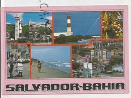 Salvador De Bahia. Carte Mosaïque. Phare, Plage, Ascenseur Lacerda - Salvador De Bahia