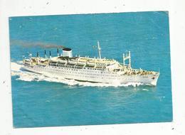 Cp, Bateaux ,PAQUEBOT GALILEE , Compagnie Française De Navigation ,MEDITERRANEE ISRAEL ,voyagée 1965 - Paquebots