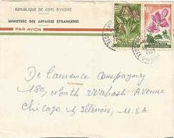 Cote D'Ivoire 1963 Abidjan Perle Flower Orchid Eulophia Cucullata Bougainvillea Spectabilis Cover - Ivoorkust (1960-...)