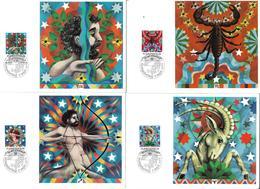 1599g: Tierkreiszeichen Liechtenstein Serie 1978 Komplett Auf Maximumkarten - Astrologie