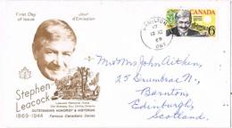31829. Carta HAMILTON (Ontario) Canada 1968. STEPHEN LEACOCK, Humorist - 1952-.... Reinado De Elizabeth II