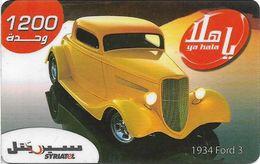 Syria - Syriatel - Cars - 1934 Ford 3, Exp. 31.12.2008, Prepaid 1200U, Used - Syria