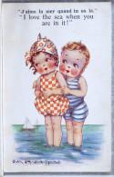 LITHO Chromo Illustrateur Gwen Rayward Young Comique House 6694 Enfants Enfant FILLE FILLETTE GARCON PLAGE  Mer Amoureux - Cartes Humoristiques