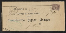 COLLETTORIE RURALI MARCHE - DA COSSIGNANO A GROTTAMMARE - 30.8.1891. - 1878-00 Umberto I