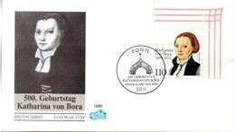 """BRD Schmuck-FDC """"500. Geburtstag Von Katharina Von Bora"""", Mi. 2029 ESSt 14.1.1999 BONN - FDC: Sobres"""