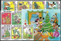 ISOLE TURKS & CAICOS 1983 Walt Disney Natale 9v + 1 Foglietto, Nuovi Gomma Integra - Territorio Britannico Dell'Oceano Indiano