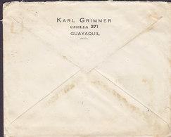 Ecuador KARL GRIMMER, GUAYAQUIL 1926 Commercial Cover Letra HAMBURG Germany 2x Garcia Moreno - Ecuador