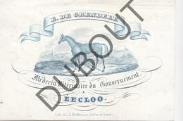 Porseleinkaart - Carte Porcelaine EEKLO E. De Grendele Médecin Vétérinaire Du Gouvernement -Cheval-Paard 7 X 10 Cm(G143) - Brugge