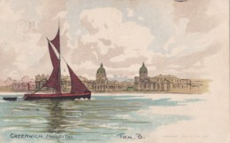 AN95 Greenwich Hospital - Tom B. Signed Art Postcard - London Suburbs