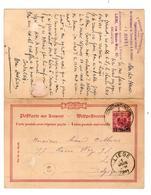 PR6501/ Deutschland Postkarte Antwort Constantinopel Deutsche Post 1891 N.Liège Belgien In Beide Richtungen Verwende - Bureau: Turquie