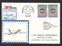 Portugal Premier Vol TAP Lockheed TriStar Montreal Canada Lisbonne 1983 First Flight Montreal Lisbon - Lettres & Documents