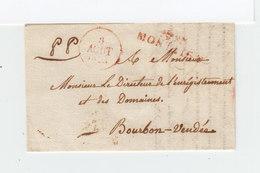 Sur Partie De L. Pour Bourbon  Marque Linéaire Rouge 1828 Montaigu. C.  Date Un Rouge Et Un Noir. PP Manuscrits. (2297x) - 1801-1848: Précurseurs XIX