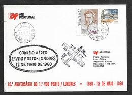 Portugal 20 Ans Premier Vol TAP Lisbonne Londres Royaume Uni 1980 Lisbon Londres United Kingdom 20 Years First Flight - Poste Aérienne