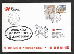 Portugal 20 Ans Premier Vol TAP Lisbonne Londres Royaume Uni 1980 Lisbon Londres United Kingdom 20 Years First Flight - Lettres & Documents