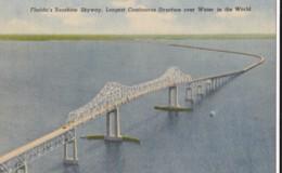 AQ29 Florida's Sunshine Skyway - Linen Postcard - United States