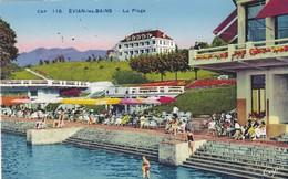 74. EVIAN LES BAINS. CPA COLORISÉE. LA PLAGE. ANIMATION. .ANNEE 1947 - Evian-les-Bains