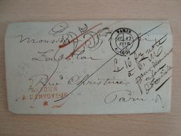 ENVELOPPE FEVRIER 1872 PARIS - Marcofilie (Brieven)