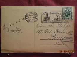 Carte De 1930 à Destination De Paris (cachet Exposition Internationale D'Anvers) - Belgique