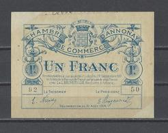 Chambre De Commerce D'ANNONAY  Billet De 1.00F - Chamber Of Commerce