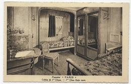 (RECTO / VERSO) PAQUEBOT PARIS - CABINE DE 1ere CLASSE - CPA NON VOYAGEE - 75 - Paquebots