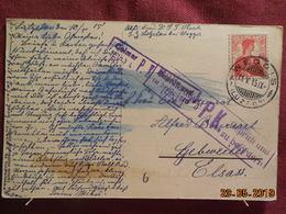 Carte De 1915 Avec Cachet Colmar P.K (avec Trace De Bleu Servant à Detecter Les Lettres Camouflées) - Lettres & Documents