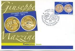 ITALIA - FDC MAXIMUM CARD 2005 - GIUSEPPE MAZZINI - ANNULLO SPECIALE GENOVA - Maximumkarten (MC)