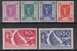 1936 Yvert Nº 322 / 327  MH - Francia