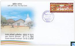 Sri Lanka Stamps 2019, State Vesak, Buddha, Buddhism, Elephants, Elephant, Arts, Painting, FDC - Sri Lanka (Ceylon) (1948-...)