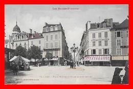CPA (64) PAU.  Place Nouvelle-Halle Et Rue Serviez, Animé,,magasins...G660 - Pau