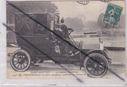 Paris Nouveau(75) Les Femmes Chauffeur.Mme Decourcelle,la Cochère Chauffeuse ,conduisant Un Autotax Au Bois - Transport Urbain En Surface