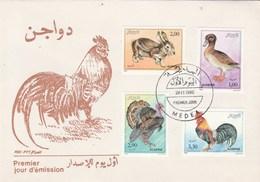 Algérie FDC 1990 Yvert  Série 986 à 989 Animaux Basse Cour - Coq Dindon Canard Lapin - Algérie (1962-...)