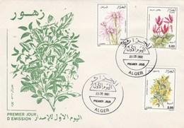 Algérie FDC 1991 Yvert  Série 996 à 998 Fleurs - Algérie (1962-...)