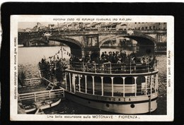 """Florence,Italy-Torist Ship """"Fiorenza""""Una Bella Escursione Slla Motonave 1910s - Antique Postcard - Italia"""