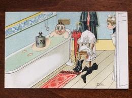 Uomo In Vasca Da Bagno - Cartolina FP NV Firmata PIPPO - Humor