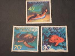 DJIBOUTI - 1977 FAUNA 3 VALORI  - NUOVI(++) - Djibouti (1977-...)