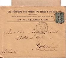 HERAULT-FAUGERES T84 DU 16-3-1905 SUR PAIRE 15c SEMEUSE -ENTETE LES VETERANS DES ARMEES DE TERRE & DE MER 1870-1871 955e - Manual Postmarks