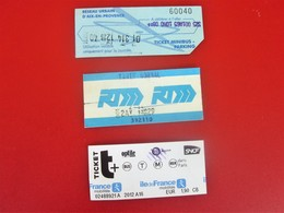 AIX  - MARSEILLE - PARIS  3 Titres De Transport  Tickets Simples  Métro - Bus - Tramway - Métro - Réseau Urbain Europe - Metropolitana
