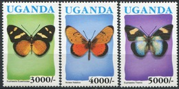 UGANDA 1992 Butterflies Insects Blue Country Name Animals Fauna MNH - Vlinders