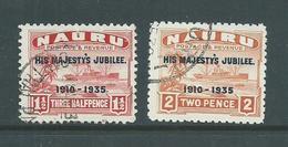 Nauru 1935 KGV Silver Jubilee Overprints 2 Lower Values Attractive Used , One With Natural Paper Wrinkle - Nauru