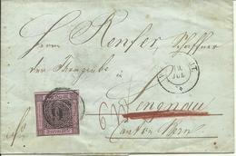 1857  9 Kr. Auf Brief Von Waldshut Nach Langnau  Stempel: Albbrück, Bern, Basel Expedition, Bienne, Langnau - Bade