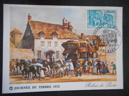"CP ""JOURNEE DU TIMBRE 1973 - RELAIS DE POSTE"" - Circulé - Poste & Facteurs"