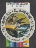ECUADOR, 2015, VISIT ECUADOR , WHALES, TURTLES, REPTILES, CAIMANS, TORTOISES,BIRDS, CONDORS, MOUNTAINS,  S/SHEET - Turtles