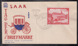 2492 ) Free Shipping To //   SAAR AREA 1954 FDC Day Of The Stamp - FDC