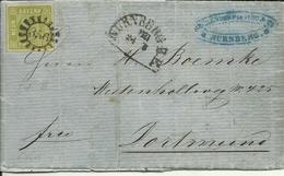 1860 9 Kr. (breitrandig) Auf Brief Von Nürnberg Nach Dortmund  Stempel Nürnberg, Zugstempel Coblenz-Coeln & Ausg. - Bavière