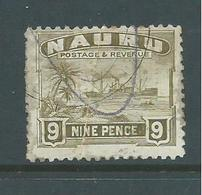Nauru 1924 - 1947 Ships 9d Olive Brown Used , Creased , Unusual Cancellation - Nauru
