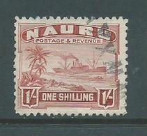 Nauru 1924 - 1947 Ships 1 Shilling Red- Brown FU , Part Straight Line Cancel - Nauru